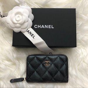Chanel 19s iridescent zip coin purse wallet New